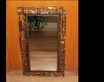 Vintage Brutalist Mirror - Mid Century Modern Syroco Wall Mirror Heavy - Vintage Wall Mirror - Modernist Design Wall Mirror