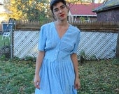 Albert Nipon Day Dress Blue and White 80s does 40s Size Medium PRICE REDUCED