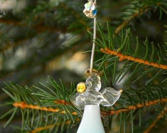 glass holiday ornament christmas cute holiday home ombre blue christmas decor - Angel Christmas Tree