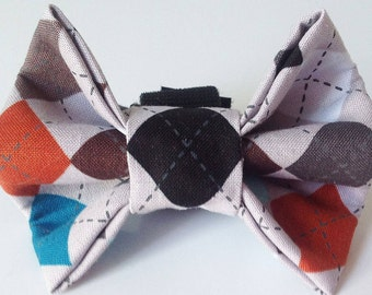 Gray Argyle Male Dog and Cat Bow Tie for Collar