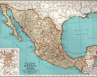 Vintage Mexico Map 1936 Collectible Print Perfect Gift For Travel Wedding Birthday