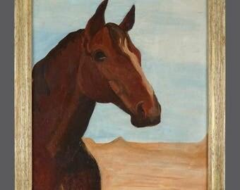 "Vintage Acrylic Painting Horse On Desert Animal Art 14"" x 18"""