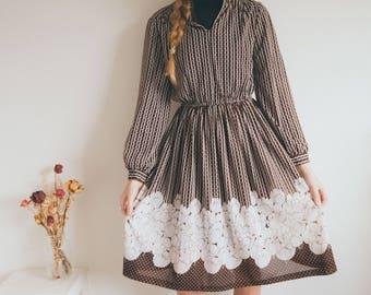 Vintage 70s Midi Brown Dress, Sheer Dress, 70s Boho, Long Sleeved