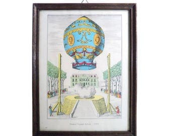 Lithography Offset , Premier Voyage Aerien, 1783 Framed Print, Hot Air Balloon, Montgolfier Brothers, Versailles, France