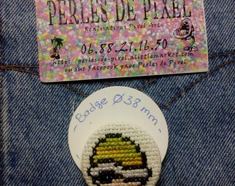 Mario shell pattern hand embroidered badge