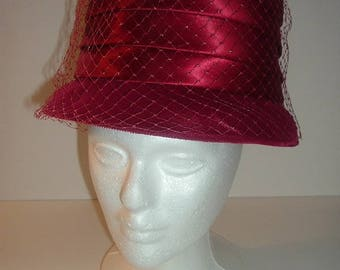 Vintage Cranberry Velvet and Satin Hat Free 1st Class US shipping