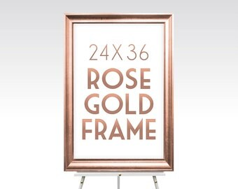 ROSE GOLD FRAME . 24 x 36 Large Maple Wood Wedding Sign . Metallic Gold Foil Silver White Wash Black Rustic Pine . Sizes 5 x 7 to 30 x 40