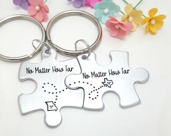 Long Distance Relationship, Personalized Gift for Boyfriend, Boyfriend Christmas Gift, Custom Keychain, 1 Year Anniversary Gift, Couples