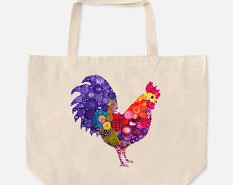 Oversized Tote with Rooster Design - Large Cotton Tote Bag - Big Reusable Shopping Bag - Cotton Bag with Rooster - Rooster Tote