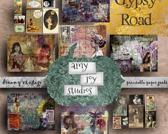 Gypsy Road  Boho Journal Kit  Digital Journal Kit  Junk Journal Printable  Vintage Journal  Ephemera Vintage  Printable Journal Paper