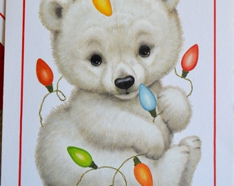 Vintage Christmas Card - Morehead Baby Polar Bear - Unused