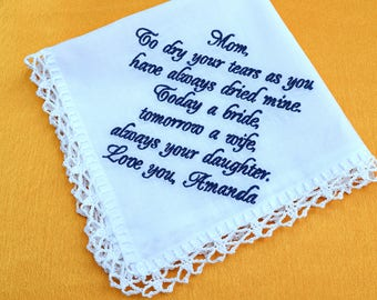 Mother of the bride gift from daughter mum Gift for mom from daughter Wedding gift for mother of the bride gift wedding handkerchief for mom