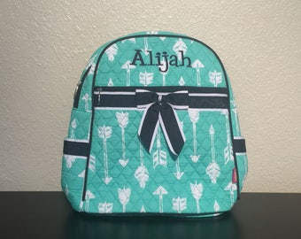 Arrow Print Quilted Monogrammed Backpack Mint Green and White with Navy Blue Trim