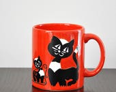 Rare Vintage Red, White & Black Waechtersbach Cat with Yarn Ceramic Mug / W-Germany / Coffee Mug / Pottery / Unique Gifts / Gifts under 20