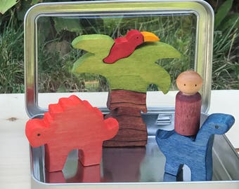 Dinosaur Puzzle Play Set, Pocket Play Set, Waldorf Toys, Travel Toy, Montessori Materials