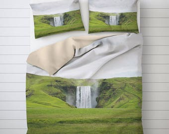 Falling Water Bedding Set, Iceland Photography, Printed Bedding Sets Cover, Unique Duvet Covers, Bed Decoration, Best Duvet Covers. SV024