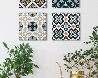 Ceramic Tile Wall Art, Set of 4 Canvas, Geometric Canvas Art, Spanish Tile Design, Vintage Wall Art, Barcelona Tiles, Ceramic Tile Art