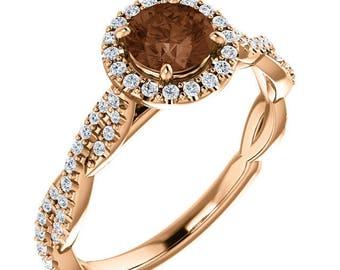 1.25 Carat Genuine Chocolate & White Diamond Ring in 14K Rose Gold