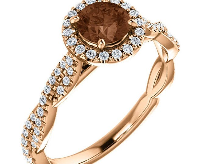 Featured listing image: 1.25 Carat Genuine Chocolate & White Diamond Ring in 14K Rose Gold