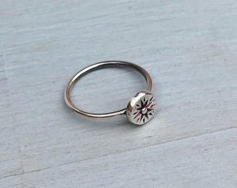 Compass Finger Ring - Sterling Silver