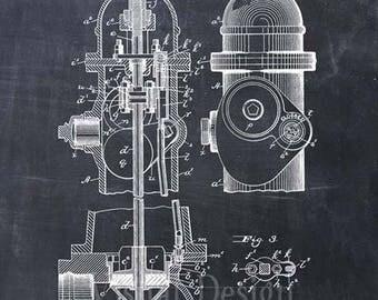 Fire Hydrant Patent Print - Firetruck - Fire - Fireman Decor - Fire Fighter Gift
