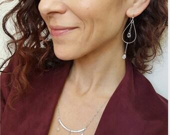 Moonstone Hoop Earrings, Silver Hoop Earrings, Long Silver Earrings, Moonstone Earrings Dangle, Moonstone Earrings