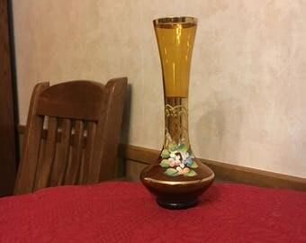 Bohemian Amber Glass Bud Vase