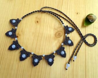 Opalite macrame necklace, boho necklace, macrame jewelry, micromacrame, hippie necklace, macrame stone, healing jewelry, elven jewelry