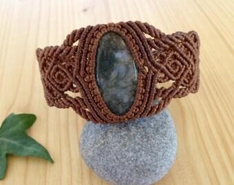 Moss agate macrame bracelet, macrame jewelry, hippie bracelet, moss agate jewelry, macrame stone, gemstone bracelet, bohemian jewelry