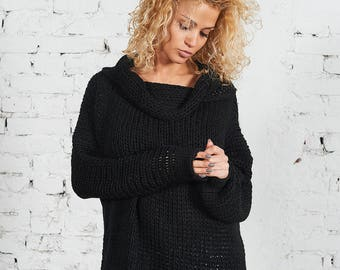 Plus Size Sweater, Women Sweater, Wool Sweater, Chunky Sweater, Loose Knit, Cowl Neck Sweater, Women Pullover, Off Shoulder Sweater,