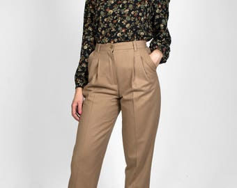 Vintage Beige High Waisted Pants Wool Tapered Warm Lined Elastic Waist Womens Trousers 1990s - Size 4 Petite Small