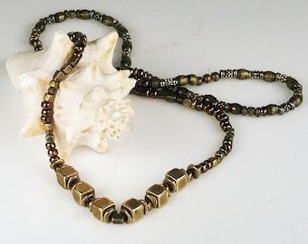 African Bronze Beaded Necklace Gift - Handmade Bronze Cube Beads Necklace Gift - 24 inch African Tribal Bronze Cube Beaded Necklace gift