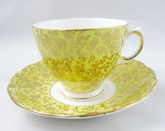 Colclough Yellow Tea Cup and Saucer with Gold Chintz, Vintage, English Bone China, Cup and Saucer Set