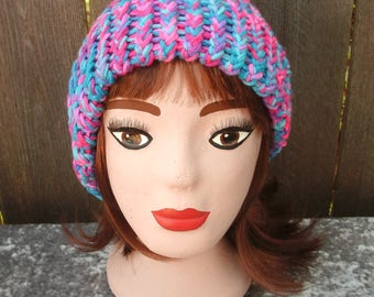 """Loom Knit Hat In """"Bonbon"""""""