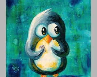 Addicted to Texting - Super-Cute Penguin Print