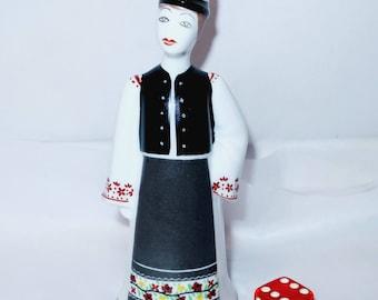 Vintage HUNGARIAN HOLLOHAZA MAN Native Peasant Traditional Costume Fine Porcelain Ceramic Figurine Hand Painted Statue Figure Hungary Gift