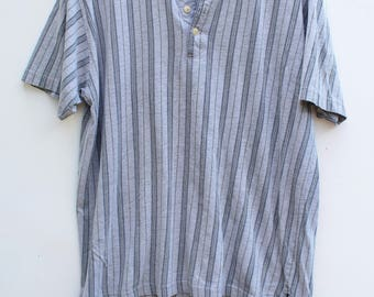 90s Striped Henley Tee / Men's LARGE - XL / Gray / Super Soft & Worn