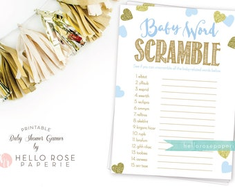 Baby Word Scramble Game . Blue and Gold Baby Shower Game . Printable Instant Download . Boy Baby Shower Games . Blue and Gold Glitter Hearts