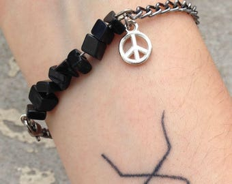 BEFORE the storm - Obsidian and peace symbol bracelet