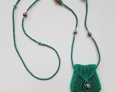 Green Necklace Purse, or amulet bag, with Cloisonne bead accents Brigitte-style purse with flap