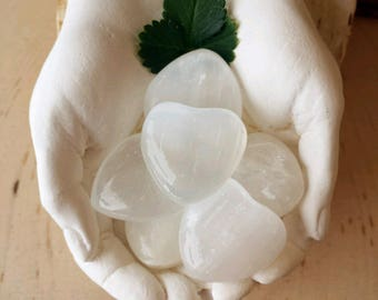 Selenite Hearts, Healing Crystals, Gemstone, Polished Selenite, Small Selenite Hearts, Selenite, Carved Selenite, Witch, Witchcraft