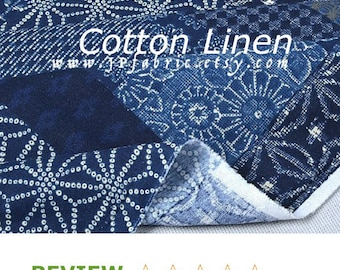 Indigo Blue Cotton Linen Patch fabric by the yard