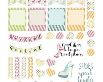 High Heel Planner Stickers 37 piece set , Journals , Calendar , reminder , Labels , Teens , Adults