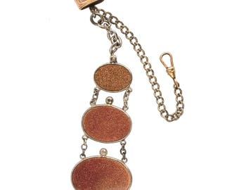 Victorian gentleman's 3 tier goldstone fob and silver metal watch chain. fbvc128