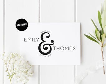Custom Wedding Thank You Cards (10) Personalised Thank You Card Pack, Thank You Card Set, Ampersand Wedding Card, Wedding Thank You Card Set