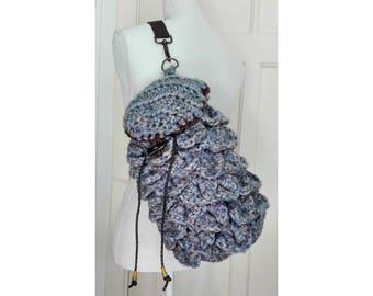 Ready-to-ship: Dragonscale bag/pouch/backpack for cosplay - crocodile stitch crochet, 100% soft acrylic yarn, Blue