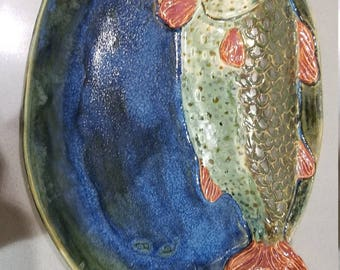 Gorgeous hand made ceramic fish oval platter - blue green large