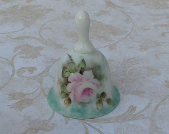 Pretty tiny vintage hand painted bell | pink rose | China painting | bell collector | school bell | miniatures