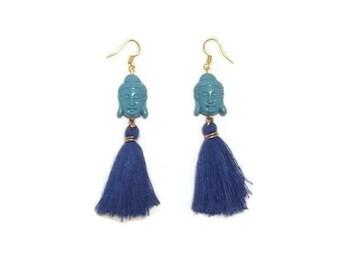 Buddha Head Earrings - Buddha Earrings - Yoga Earrings - Blue Buddha Earrings - Blue Boho Earrings - Boho Yoga Earrings - Long Blue Earrings