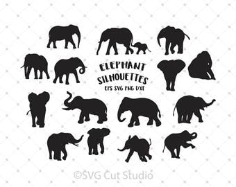 Elephant SVG, Elephant Silhouette SVG, Elephant cut files, Baby Elephant svg cut files for Cricut and Silhouette, svg files